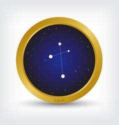 Crux constellation in golden circle vector