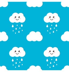 Cute cloud with water drops rain seamless pattern vector
