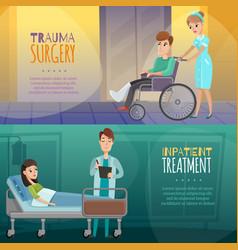 Doctors patients horizontal banners vector