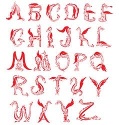 dragon alphabet fantasy dragon font vector image vector image