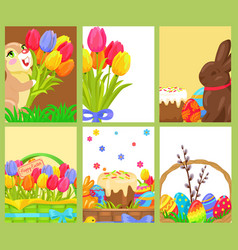 Easter openings chocolate bunny colored egg tulips vector