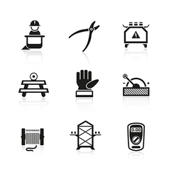 Electrician equipment icons vector image vector image