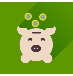 Flat icon with long shadow piggy bank money vector