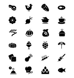 Food solid icons 7 vector