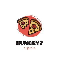 funny doodle style pizza slices logo vector image vector image