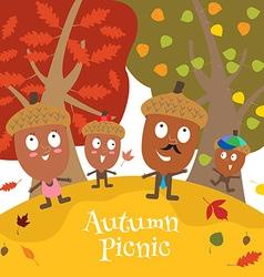 Happy acorn family vector