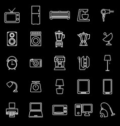 household line icons on black background vector image