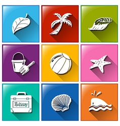 Icons with the different objects for summer vector image