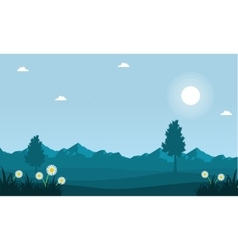 Landscape of spring with mountain background vector