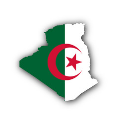 Map and flag of algeria vector