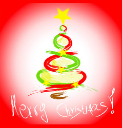 Merry christmas card with hand drawn christmas tre vector