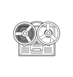 Obsolete tape recorder with two bobbins vector image