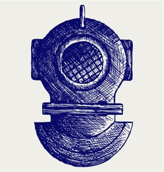 Old diving helmet vector image vector image