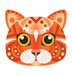 Red cat head logo decorative emblem vector