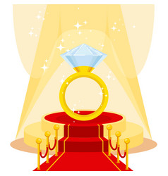 Ring on red carpet vector