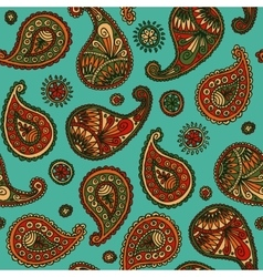 Seamless Pattern with Paisley on a Turquoise vector image