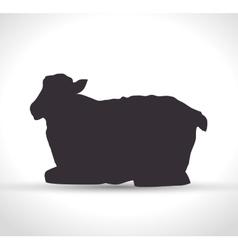 Silhouette sheep manger isolated design vector