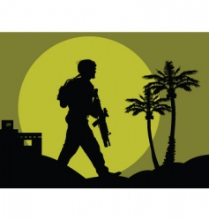 soldiers in the desert vector image vector image