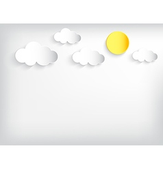 Sun and cloundy sky papercut style background vector