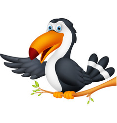 toucan bird cartoon presenting vector image vector image