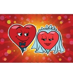 Wedding groom and bride Valentine heart vector image