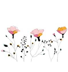 Wild flower field vector