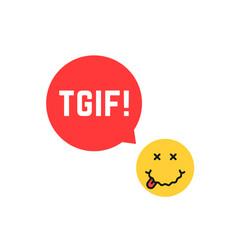 Yellow drunk emoji tgif logo like thank god it is vector