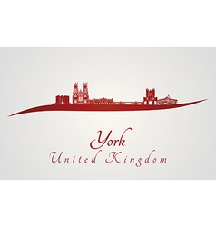 York skyline in red vector