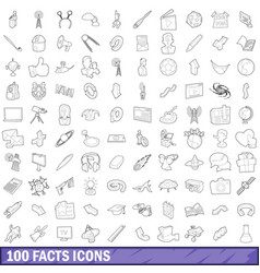 100 fact icons set outline style vector