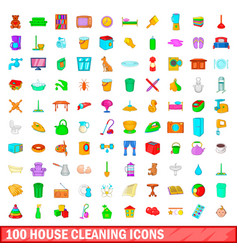 100 house cleaning icons set cartoon style vector