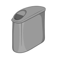 Trash can with lid icon black monochrome style vector