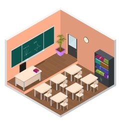 Interior classroom with furniture isometric view vector