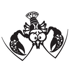 Cartoon crayfish black white vector