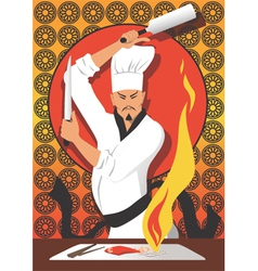 Hibachi chef vector