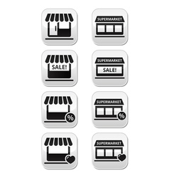 Single shop or store supermarket buttons vector