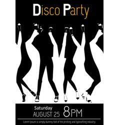 Disco party flyer closeup of legs dancing vector
