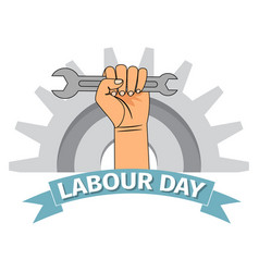 labour day poster with clenched fist vector image
