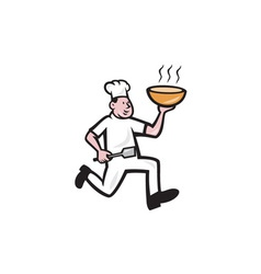 Chef cook running holding bowl cartoon vector