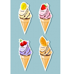 Fruit flavored ice cream vector