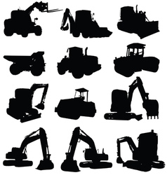 Construction vehicle black silhouette vector
