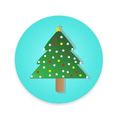Flat long shadow christmas tree icon isolate vector