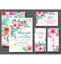 Beautiful set of invitation cards with watercolor vector