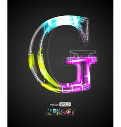 Design light effect alphabet letter g vector