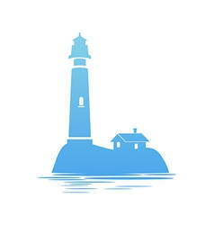 Blue Icon of Lighthouse vector image