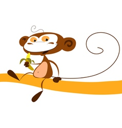 Monkey eating a banana vector