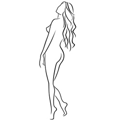 Abstract outline of female half turn back vector