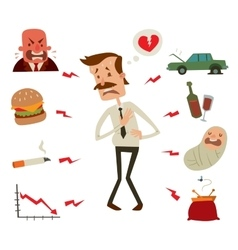 Mens heart problems businessman risk factors vector