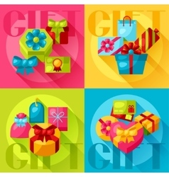 Celebration background or card with colorful gift vector