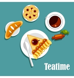 Teatime food with cup of tea pastries and candies vector