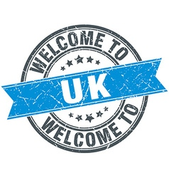 Welcome to uk blue round vintage stamp vector